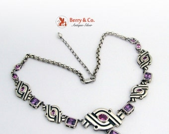Abstract Sterling Silver Necklace Violet and Pink Gemstones