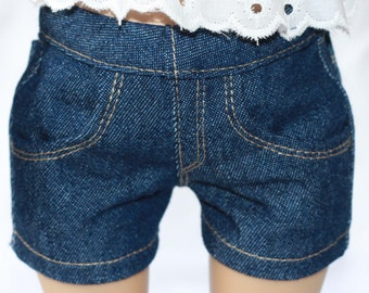 Dark Wash Denim Jean Shorts for 18 inch dolls