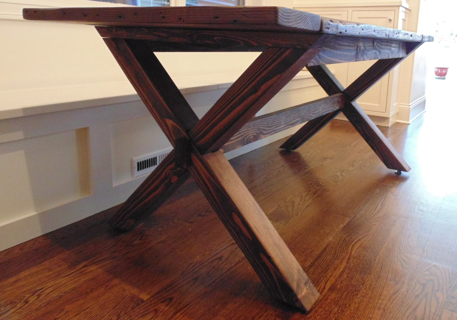 Somerset crossed leg dining table farmhouse reclaimed wood - Crossed leg dining table ...
