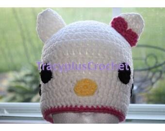 Crochet Cat Beanie. Kitty cat hat. Newborn to Adult. Photo Prop. Handmade to order.