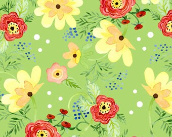 Ranunculus Floral 3AJA2 Green  fabric Sold by the yard
