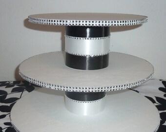 3 tier black white stripe wedding cupcake stand tower display silver faux rhinestone modern candy buffet dessert bar table quinceanera DIY