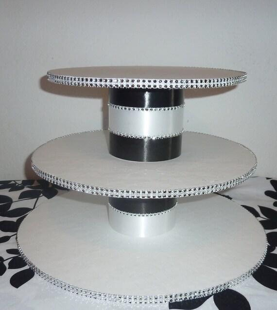 Diy 3 Tier Jewelry Stand: Items Similar To 3 Tier Black White Stripe Wedding Cupcake