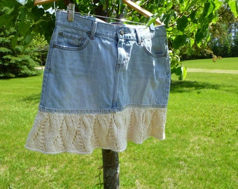 Upcycle Denim Knitted Lace Skirt