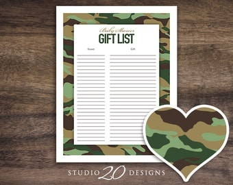 Instant Download Green Camo Baby Shower Games, Printable Camouflage Gift List, Green Camouflage Baby Shower Gift List, Gift Tracker #31B