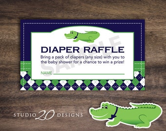 Instant Download Preppy Alligator Diaper Raffle, Printable Argyle Alligator Diaper Raffle, Crocodile Theme Baby Shower, Alligator Theme 62A