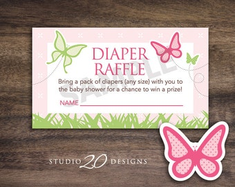 Instant Download Butterfly Diaper Raffle Cards, Printable Butterfly Baby Shower Diaper Raffle Cards, Green Pink Butterfly Baby Shower 61A