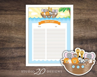 Instant Download Noah's Ark Gift Registry, Printable Noahs Ark Baby Shower Gift List, Bible Baby Shower Gift Tracker, Gender Neutral #63A