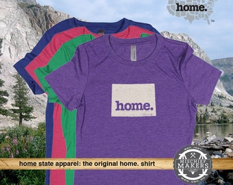 Wyoming Home. shirt- Womens Red Green Royal Pink Purple