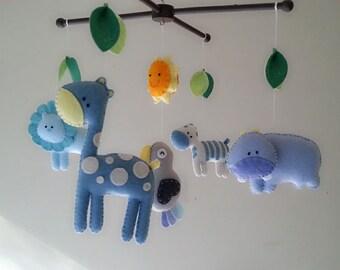 """Baby crib mobile, safari mobile, animal mobile, felt mobile """"Blue safari"""" - Lion, Giraffe, Zebra, Hippo, Parrot"""