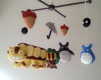"Baby crib mobile, forest mobile, animal mobile , felt mobile ""My Neighbor Totoro"""