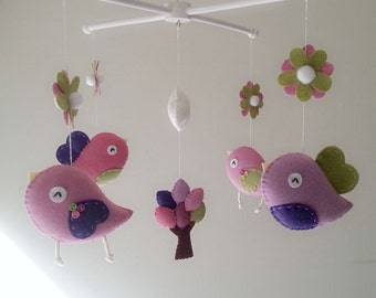 "Baby crib mobile, Bird mobile, felt mobile, nursery mobile, baby mobile, girl mobile ""Bird - lavender rose pink and olive"""