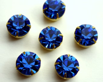 2 Swarovski Stones in Raw Brass 4 Prong Settings - Sapphire 47 ss Crystal Stones - 11 mm