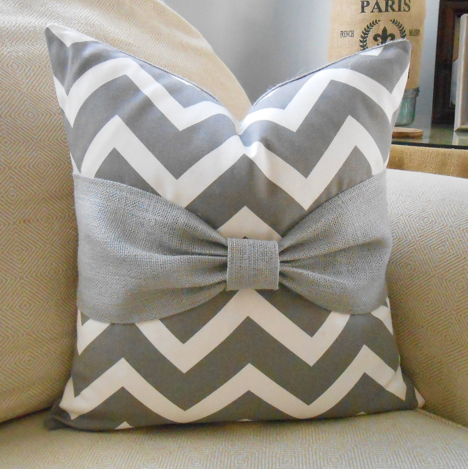 white and grey chevron bow burlap pillow cover. Black Bedroom Furniture Sets. Home Design Ideas