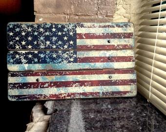 United States of America USA Flag Distressed Barn Wood Art