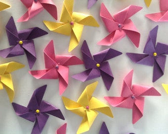 Mini Assorted Yellow, Purple, and Pink Pinwheel Confetti 50 Pieces
