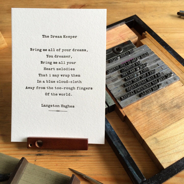 Short Sweet I Love You Quotes: Letterpress Typeset Poem Langston Hughes The Dream Keeper