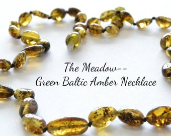 "20-21"" Luxury Green Baltic Amber Necklace ""The Meadow"" Adult Size Longer Length --  FREE Shipping"