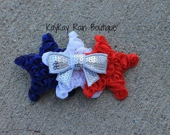 Patriotic Red, White and Blue Shabby Star Hair Clip, Patriotic Hair Clip