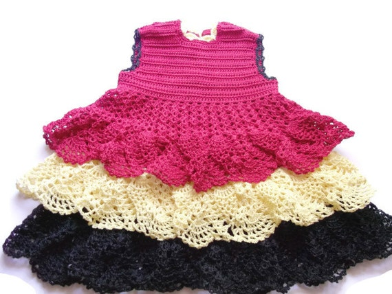 Red with Yellow and Black ruffles Baby girl Crochet Lace Dress Newborn Preemie Reborn doll Handmade dress