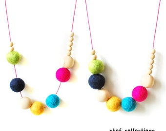 Neon Necklace. Colourful Necklace. Girls Necklace. Felt Balls Necklace. Wooden Bead Necklace. Fun. Chunky Necklace. Large Bead Necklace.