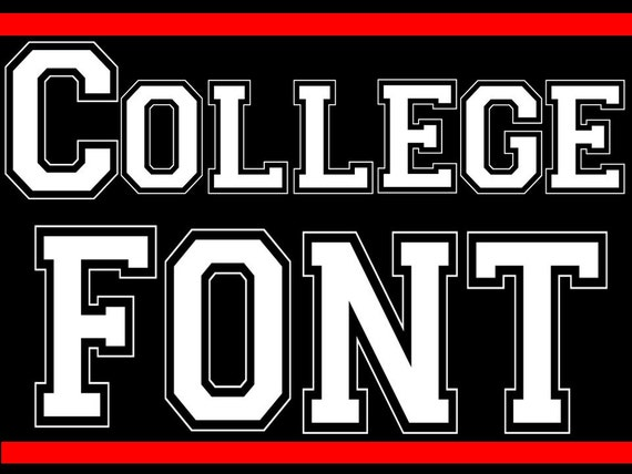 fonts collegiate style block lettering
