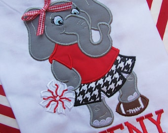 Alabama Elephant Cheerleader Houndstooth Personalized Embroidered Appliqued Team Spirit Football Shirt/Onesie