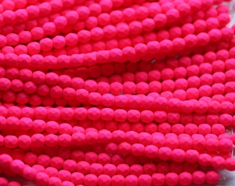 25 Neon Pink, 6mm Faceted Round Czech Glass Fire Polished Beads FP-6M-20