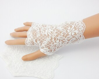"Wedding gloves, white stretch lace gloves, fingerless gloves, lace gloves, small white gloves, gloves,  6"" long,  ready to ship,"