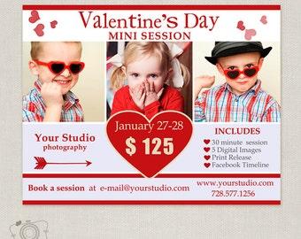 Valentine's Day Mini Session Template - Photography Marketing Template - Mini Session Board 037 - C129, INSTANT DOWNLOAD