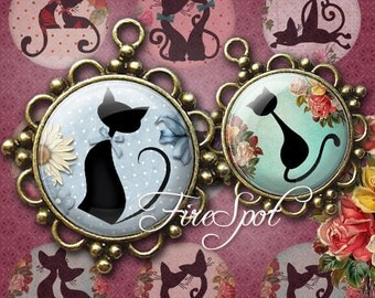 Cartoon Black Cat - Digital Collage Sheet, 20mm, 18mm, 16mm, 14mm, 12mm circles.Animal,Bottlecaps.printable images.Glass Pendants,