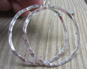 Large Silver Hoops, Hammered Silver Hoops