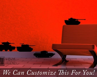 Military tanks decals set of 4 different tanks with canon - a wall decor vinyl decal sticker graphic 2387