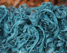 Teal Blue with Hints of Glitter Ruffled Scarf - Sundance Frill Metallic Solids Yarn Persian Blue