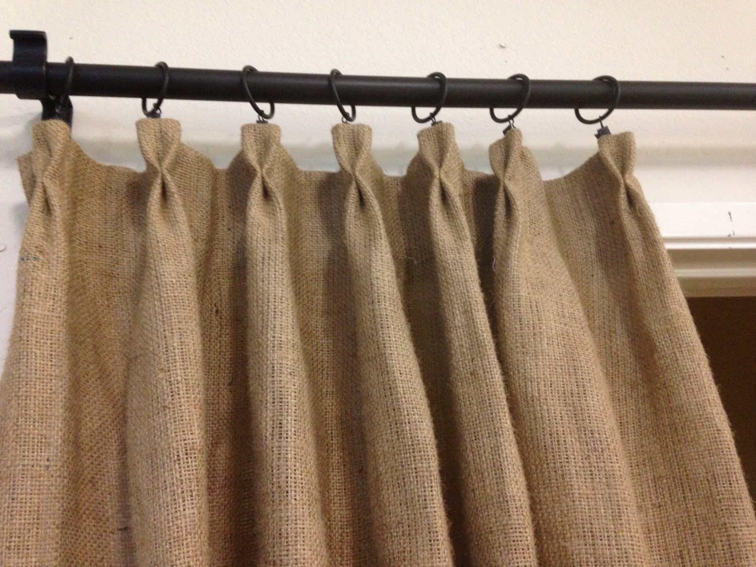 Butterfly pleated burlap curtain Spring by pillowpuff on Etsy