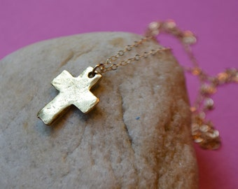 Gold Cross Necklace - Rustic Cross Necklace - Hammered Gold Cross Necklace