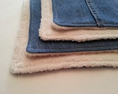 Terry Cloth Pot Holders / Hot Pads / Upcycled Denim / Rustic Home Decor / ORGANIC Terry Cloth / Grill Accessory / Camping Gear /Gift for Him