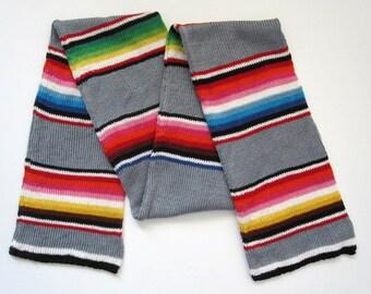 Grey Serape Stripe Cotton Knit Scarf