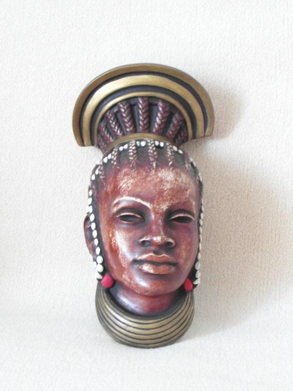 Masque achatit afrique zoulou femme mur masque par for Decoration murale africaine