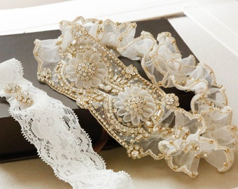 Wedding Garter Set   - MI Gold (Made to Order)