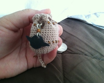 Light Brown Crochet Pouch with Yoda Head Charm and Drawstring Closure
