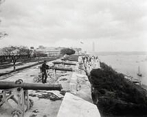 Historical Havana, Cuba art print.Fortress of San Carlos de La Cabaña, Havana, Cuba, 1900.Vintage Havana photography.