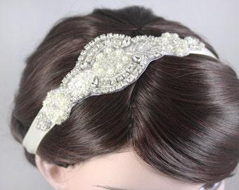 SKYLAR - Vintage Headpiece, Crystal Bridal Headband, 1920s and 1930s Headpiece, Wedding Rhinestone Head band, Bridal Headpiece