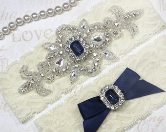 SALE - MADRID II - Sapphire Blue Wedding Garter Set, Stretch Lace Garter, Rhinestone Crystal Bridal Garters, Something Blue
