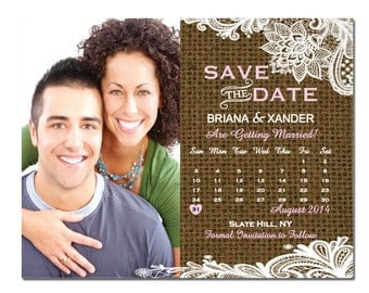 Burlap Save The Date Magnet or Card DIY PRINTABLE Digital File or Print (extra) Lace Save The Date Calendar Save The Date with Photo