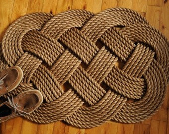 Nautical Rope Rug - Large Diameter Rope - Manila Front Door Rug - Outdoor Mat - (40 x 24)