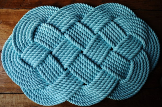 Items similar to aqua rope rug nautical rope rug aqua for Rope bath mat