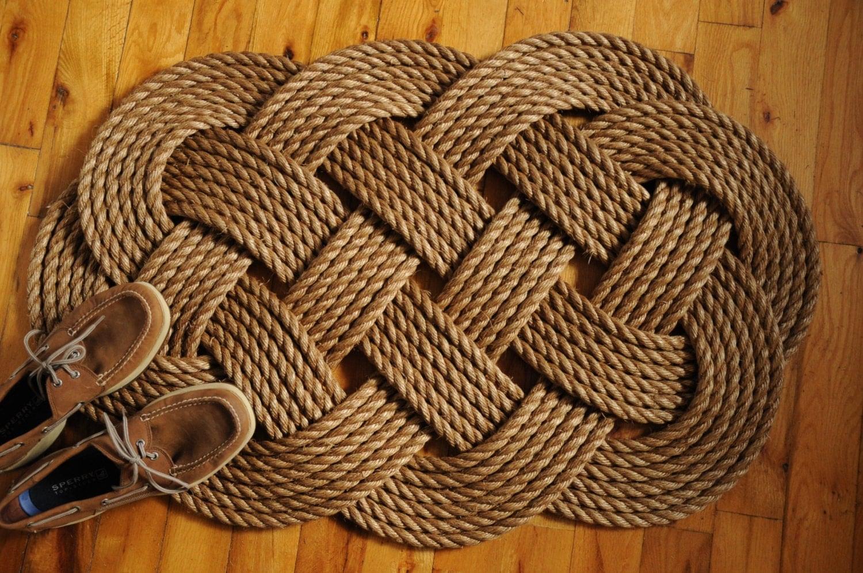 Nautical rope rug large diameter rope manila front door for Large nautical rope