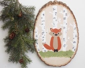 Fox wood sign, hand painted wood slice, fox nursery art, wall art, woodland nursery art, fox wall art, fox wood slice painting