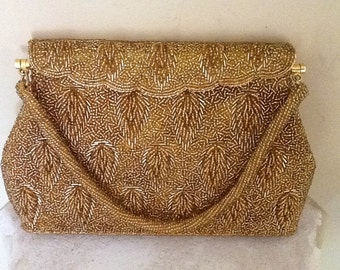 Vintage Gold Beaded Evening Bag ( Made  in Hong Kong ) Wedding / Formal / Evening Wear / Retro / High Fashion